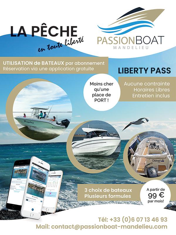 Passionboat Mandelieu - Liberty Pass pour pêcheurs. Location de bateaux mutualisés à l'année.